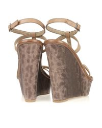 Elizabeth and James | Brown Hazel Lizard-effect Leather Wedges | Lyst