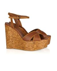 Sergio Rossi | Brown Cork-wedge Leather Sandals | Lyst