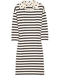 Sonia by Sonia Rykiel | Natural Polka-dot Collar Striped Cotton Dress | Lyst