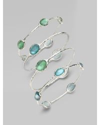 Ippolita - Green Wonderland Mint Mother-of-pearl, Clear Quartz & Sterling Silver Station Five-stone Doublet Bangle Br - Lyst