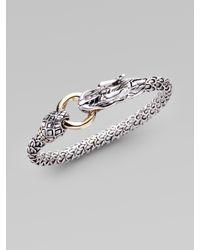 John Hardy | Metallic Sterling Silver 18k Yellow Gold Dragon Bracelet | Lyst