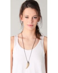 MICHAEL Michael Kors - Metallic Safari Glam Long Tooth Pendant Necklace - Lyst