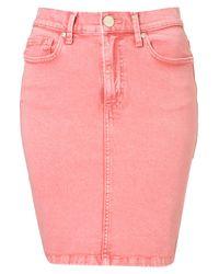 TOPSHOP | Pink Acid Wash Pencil Skirt | Lyst