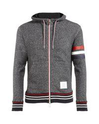 Thom Browne | Gray Striped Cotton Fleece Hooded Sweatshirt for Men | Lyst