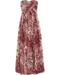 Tibi | Red Swirl Paisley Printed Silkchiffon Maxi Dress | Lyst