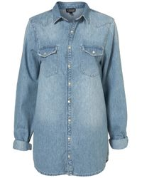 TOPSHOP | Blue Oversized Denim Shirt | Lyst