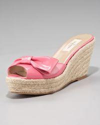 Valentino - Pink Mena Patent Espadrille Slide - Lyst