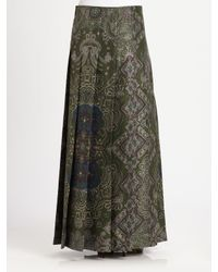 Saint Laurent - Spring 2012 Patterned Maxi Skirt In Dark Green - Lyst