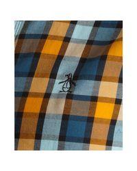 Original Penguin - Blue Dark Cheddar Plaid Cotton Howler Point Collar Shirt for Men - Lyst
