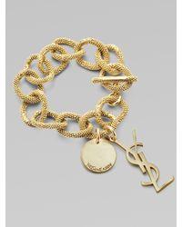 Saint Laurent | Metallic Logo Link Bracelet | Lyst