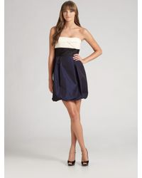 BCBGMAXAZRIA | Blue Strapless Colorblock Taffeta Dress | Lyst