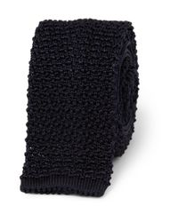 Ralph Lauren Black Label - Blue Slim Knitted-silk Tie for Men - Lyst
