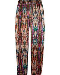 Sandro | Pink Printed Silk-satin Pants | Lyst