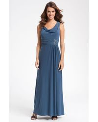 Alex Evenings | Blue Beaded Drape Neck Jersey Gown | Lyst
