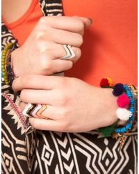 ASOS Collection - Multicolor Asos Pack Of Six Enamel Zig Zag Rings - Lyst