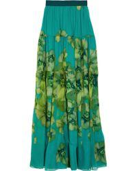 Giambattista Valli - Blue Printed Silk-chiffon Maxi Skirt - Lyst