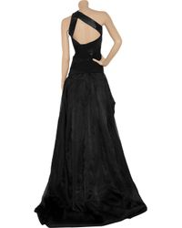 Hervé Léger | Black One-shoulder Bandage and Silk-organza Gown | Lyst
