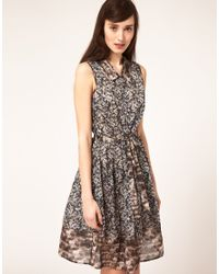 Emma Cook - Multicolor Sleeveless Shirt Dress With Horse Flower Print - Lyst