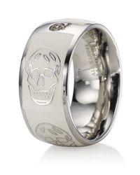 Alexander McQueen | White Enamel Skull Ring | Lyst
