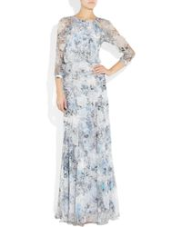 Erdem - Blue Kirstin Printed Silk-chiffon Gown - Lyst