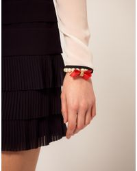 Ted Baker - Red Acrylic Pearl Bow Bracelet - Lyst