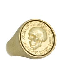 Alexander McQueen | Metallic Coin Signet Ring | Lyst