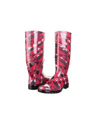 Burberry | Pink Herringbone Check Rain Boot | Lyst