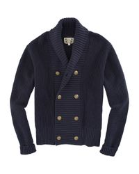 Gant Rugger - Blue Shawl Collar Cardigan for Men - Lyst