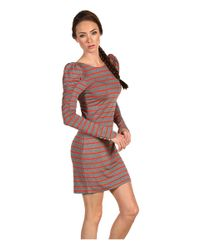 Juicy Couture - Shirred Puff Sleeve Stripe Dress - Lyst