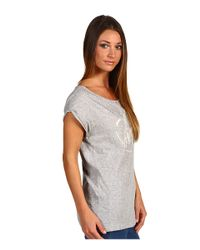Juicy Couture - Gray Rolled Sleeve Flared Tee - Lyst
