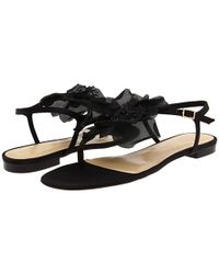 kate spade new york | Black Florina Flower Thong Sandals | Lyst