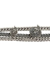 King Baby Studio - Metallic Three Strand Mixed Chain Bracelet with 3 Skull Vintage Coins - Lyst
