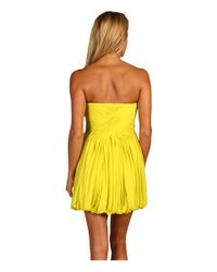 Tibi | Yellow Silk Chiffon Strapless Dress | Lyst
