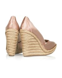 Pedro Garcia | Pink Felicty Satin Wedge Pumps | Lyst