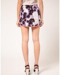 ASOS Collection | Purple Asos Dolphin Hem Mini Skirt in Palm Tree Print | Lyst