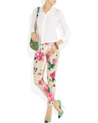 Dolce & Gabbana | Brown Peony-print Cropped Mid-rise Skinny Jeans | Lyst