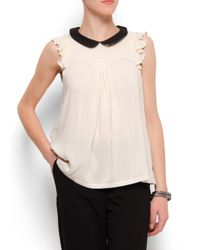 Mango - Natural Ruffled Sleeves Blouse - Lyst