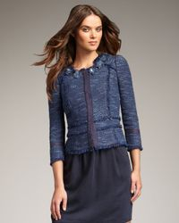 Rebecca Taylor - Blue Metallic Tweed Peplum Jacket - Lyst