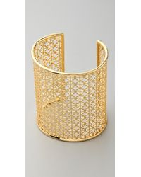 Tory Burch | Metallic Logo Cutout Cuff | Lyst