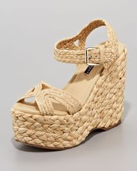 Ralph Lauren Collection | Natural Eralita Raffia Platform Sandal | Lyst