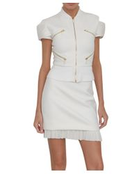 Versace | White Short Sleeve Pleated Jacket | Lyst