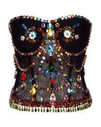 Dolce & Gabbana | Black Crystal-embellished Stretch-tulle Bustier | Lyst