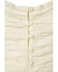 Topshop | White Lace Button Front Crop Top | Lyst