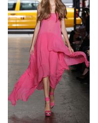 DKNY - Pink Tiered Stretch Silk-crepe Dress - Lyst