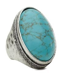 Lucky Brand | Blue Large Turquoise Stone Ring | Lyst