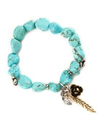 Lucky Brand | Blue Silver Tone Flower Turquoise Bracelet | Lyst