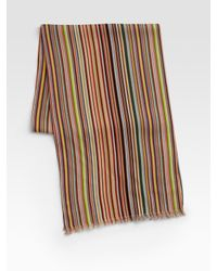 Paul Smith | Orange Striped Scarf for Men | Lyst