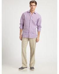 Saks Fifth Avenue   Beige Linen Drawstring Pants for Men   Lyst