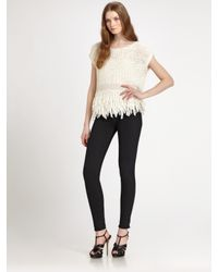 DKNY - White Knit Tassel Top - Lyst