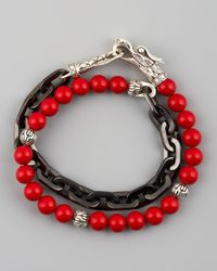 John Hardy | Multicolor Naga Coral & Chain Wrap Bracelet for Men | Lyst